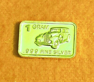 """New 1 gm. Whason Mint .999 silver bar - """"Antique touring type"""" Car  +ADD-ONs OK!"""