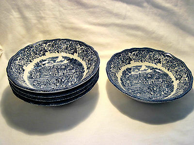 "5 J&G Meakin Royal Staffordshire ""Stratford Stage"" Blue Ironstone 5 3/8"" Bowls"