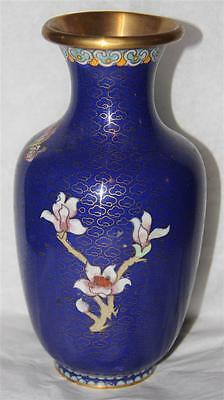 Beautiful Vintage Chinese Blue Cloisonne Enamel Brass Vase