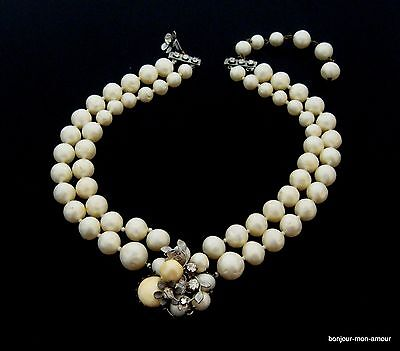 altes, 1940's Designer DE MARIO Faux Perlen Braut Collier Necklace Halskette,RAR