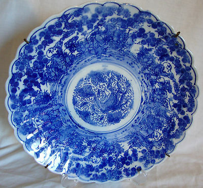 """Possibly Meiji Period Large Blue & White Japanese Charger 31cm/12.5"""" VGC"""