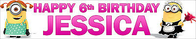 2 X Despicable Me Minions Girls Personalised Birthday Banners