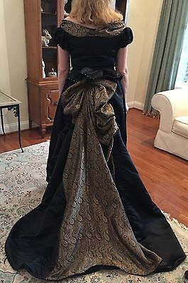 PRICE REDUCED - 1880's Style Black and Gold Satin Bustle Dress - Free shipping!