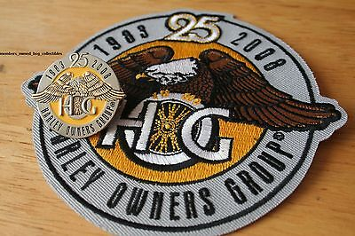 25th Anniversary HOG Pin & Patch HARLEY DAVIDSON OWNERS GROUP 1983-2008 HD MC