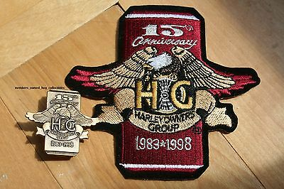 15th Anniversary Pin & Patch HARLEY OWNERS GROUP 1983 - 1998 HOG HD MC club