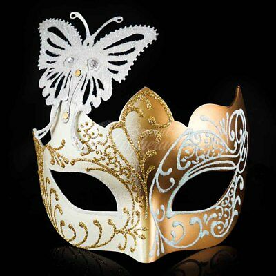 Butterfly Mardi Gras Venetian Masquerade Mask for Women M7106 [Gold/White]