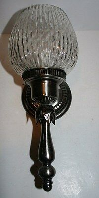 Antique contempory silver nickel frosted glass wall sconce original 1970s