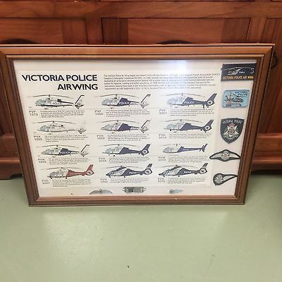 Victoria Police Airwing Helicopter Print and Badge collection - VH PVH