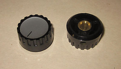 "Eagle Plastic Devices Round Half-Fluted Knob, 1"" dia, 1/4"" Shaft 45KN019-GRX"