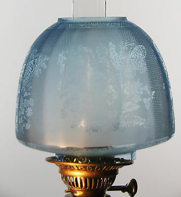 """OIL LAMP SHADE - Butterfly Beehive Shade Blue 4"""" Fit"""