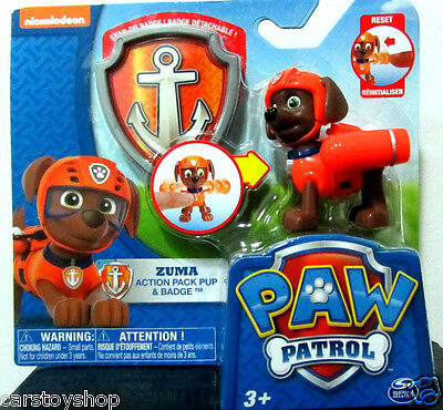 Paw Patrol Toys ZUMA Action Pack Pup and Badge Figure Dog Nickelodeon TV RARE