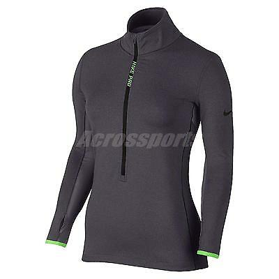 27603c872a Asian Size Nike AS Pro Hyperwarm Half-Zip Grey Green Womens Shirt 685970-021