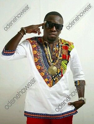 Odeneho Wear Men's White Top/Dashiki & Ankara. African Clothing