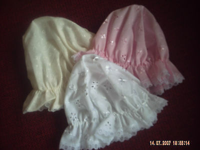 Baby Girl's Polyester/Cotton Broderie Anglaise Mop Hat In Size 0-3 Months.