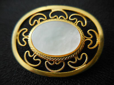 Vintage Mother of Pearl Oval Gold Tone Filigree Brooch Pin