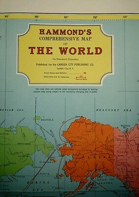 Vintage Large Hammonds Comprehensive Map Of The World On Mercator's Projection