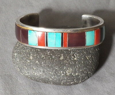 Vintage Southwestern Sterling Turquoise Coral Multi Stone Abstract Inlay Cuff