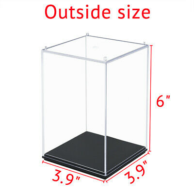 "Perspex 6""H Acrylic Clear Display Box Case Plastic Base Dustproof Figure 15cm"