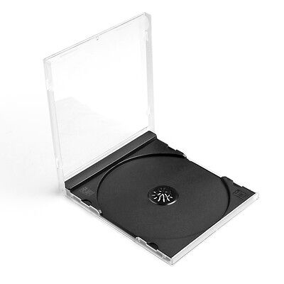 CD Cases 10mm Single Disc DVD Movie Storages Holders Boxes 100 Pack Black Tray