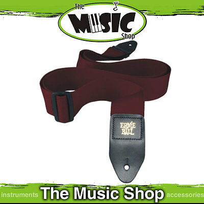 "Ernie Ball Polypro Burgundy Red Guitar Strap - 2"" Wide - Length Adjustable - New"