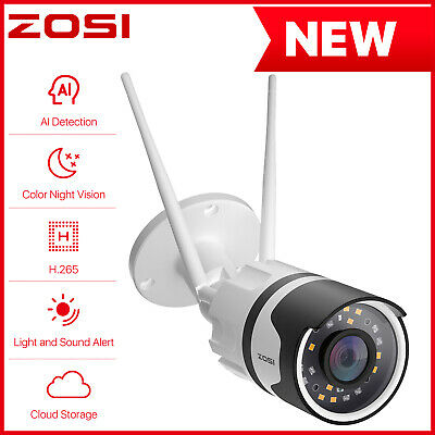ZOSI 2.0MP Wireless WIFI IP Camera Onvif Outdoor Security Bullet IR Night Vision