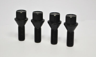 4 x M14 x 1.25, 27mm Thread, Tapered Wheel Bolts (Black)
