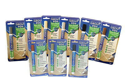 GROUT PEN Revives & Restores old grout.  ANTI-MOULD   Now available in 6 colours
