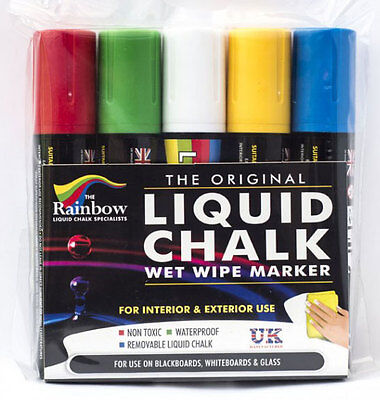 Chalk Pens - 15Mm Large 5 Pack Use On Blackboards And Menu Boards