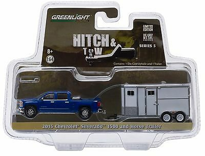 1/64 GREENLIGHT Hitch and Tow 5 2015 Chevy Silverado and Horse Trailer