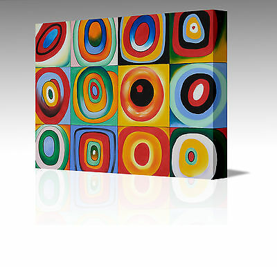 16x12 Inch ABSTRACT KANDINSKY CONCENTRIC CIRCLES LARGE CANVAS MODERN ART PICTURE