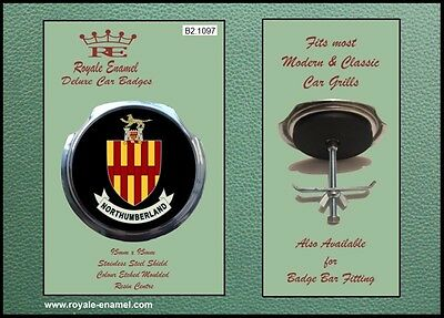 Royale Classic Car Grill Badge + Fittings - COUNTY of NORTHUMBERLAND B2.1097
