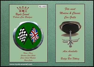 Royale Classic Car Grill Badge + Fittings - CROSSED CHECKER FLAGS GREEN B2.1183