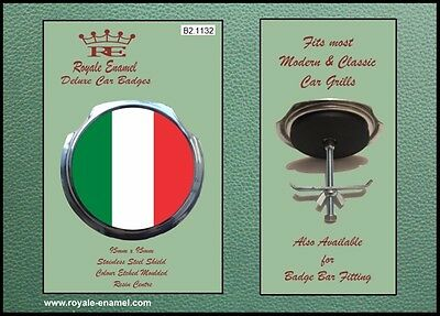 Royale Classic Car Grill Badge + Fittings - ITALY TRICOLOUR B2.1132