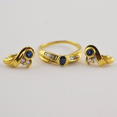 18K Yellow Gold Oval Blue Sapphire and Diamond Jewellery Set Earring+Ring Size:8