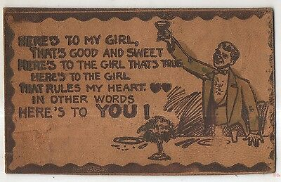 Here's To My Girl, Toast at Dinner Vintage LEATHER Postcard