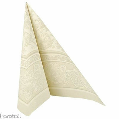 50 Napkins Royal Collection Ornaments Gold 40x40cm ¼ Fold Linen Feel Airlaid