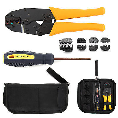 Crimper Crimp Pliers Set 0.5-35 mm² Crimping Tool Kit Cable Ratchet 4 Spare Dies