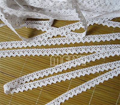 Vintage White Cotton Crochet Lace Edge Trim Ribbon Wedding Applique Sewing Craft