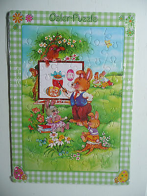 """OSTERN! Farbenfrohes OSTER-PUZZLE """"HASENSCHULE"""", 54 Teile, 21x30cm! NEU!"""