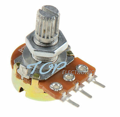 10PCS 1K Ohm B1K Knurled Shaft Linear Rotary Taper Potentiometer