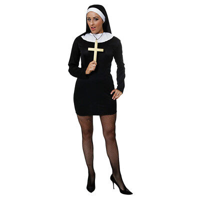 Fancy Dress - Womens Black Sexy Nun Costume - Ladies Party Cosplay Outfit