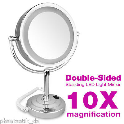 "LED Dual Sided 8.5"" Inch Stand Makeup Cosmetic Mirror 10x Magnification EU Plug"