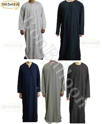 Saudi Muslim Man Thobe Dishdasha Long Flowing Riobe Gown Islam Clothes Arabic BB