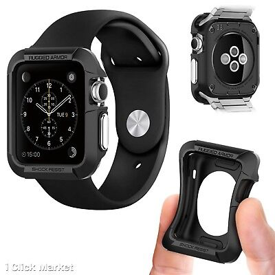 Apple Watch Case Protector 42mm iWatch Screen Protect Cover Bumper Rugged Black