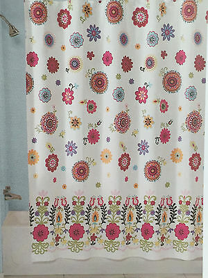 PERI SASHA WHITE Aqua Orange Pink Floral Fabric Shower Curtain - New ...