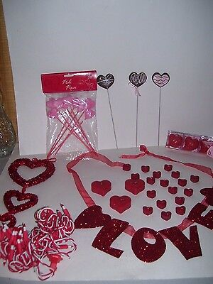 Lot of (29) Valentines Day Glitter Red Hearts Ornaments Decorations Decor Candle
