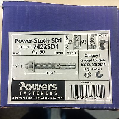 """New Box Of 50 Powers Fasteners 7422Sd1  1/2"""" X 3 3/4"""" Power Stud Wedge Anchor"""