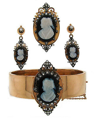 Victorian AGATE CAMEO DIAMOND YELLOW GOLD BROOCH PENDANT BRACELET EARRINGS SET