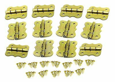 12pc. Small Brass-Plated Butterfly Hinges - Great for Cigar Box Crafts! 32-46-02