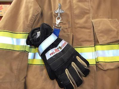 Deluxe Glove Strap with reflective strip velcro Blue Firefighter Turnout Gear